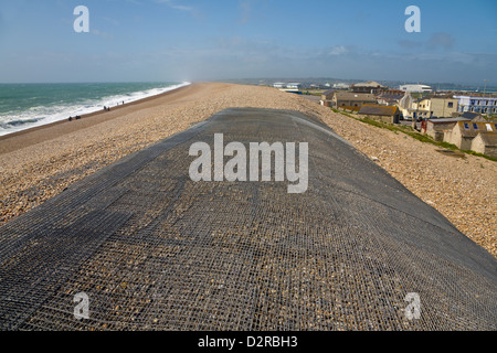 Coastal defences Chesil Beach Chiswell Dorset England - Stock Image