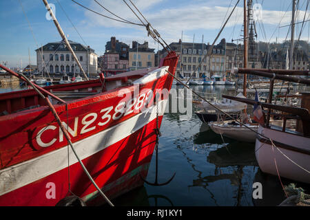 The Vieux Bassin or old harbour viewed from St. Catherine's Quay, Honfleur, Normandy, France. - Stock Image