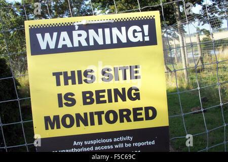 WARNING private property CCTV monitoring sign England UK - Stock Image