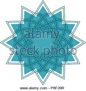 Geometrical ornament. Vector ornamental isolated flower figure - Stock Image