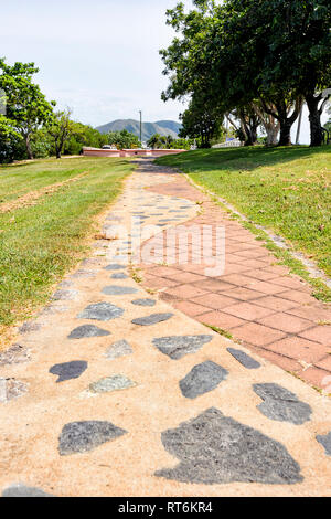 Decorative pavement along the foreshore, Cooktown, Far North Queensland, QLD, FNQ, Australia - Stock Image