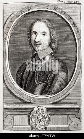 Portrait engraving of Oliver Cromwell (1599-1658), by G. Schouten,1742 Peace Palace Library - Stock Image