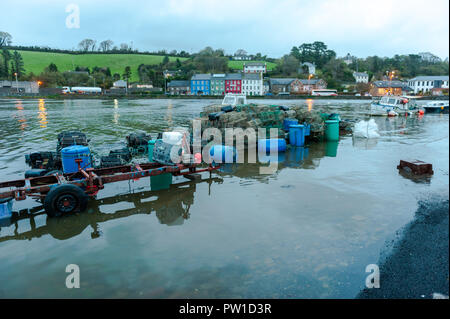 Bantry, West Cork, Ireland. 12th Oct, 2018. The Bantry quays flooded early this morning after a night of heavy rain and winds which has left 30,000 homes around Ireland without power.  The storm is tracking northwards and will fizzle out by 5pm this evening. Credit: Andy Gibson/Alamy Live News. - Stock Image