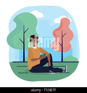 fun man seating with smartphone and trees vector illustration - Stock Image