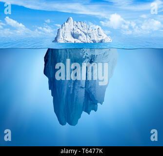 Iceberg in ocean as hidden threat or danger concept - Stock Image
