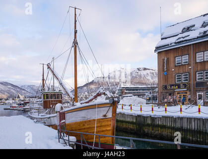 Historic fishing boat, Hermes II (1917), in harbour at Tromsø, Troms County, Norway. - Stock Image
