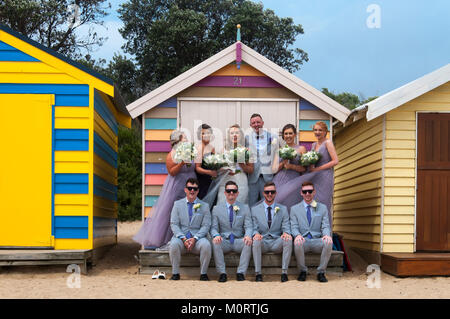 Wedding party posing at the bathing boxes on the Dendy Street Beach at Brighton on Port Phillip Bay, Melbourne, - Stock Image