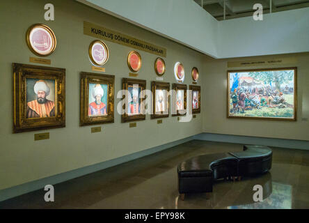 Portrait paintings of Sultans of the Ottoman Empire at Military Museum, Istanbul, Turkey - Stock Image