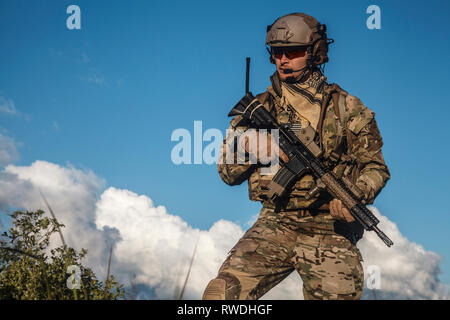 United States Army ranger in the mountains. - Stock Image