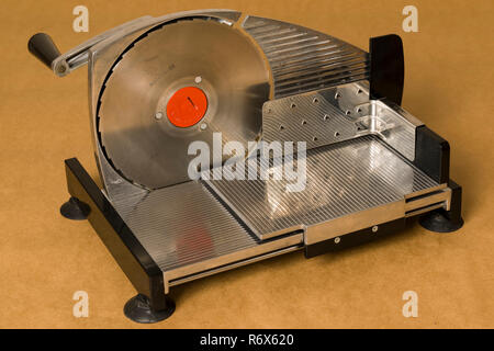 Vintage NilsJohan hand crank meat slicer close up - Stock Image