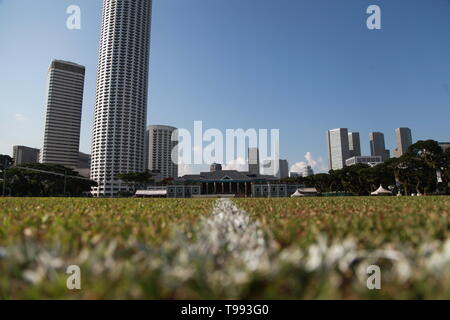 Padang Cricket Ground, Singapore,Padang Field. Singapore Cricket Club - Stock Image