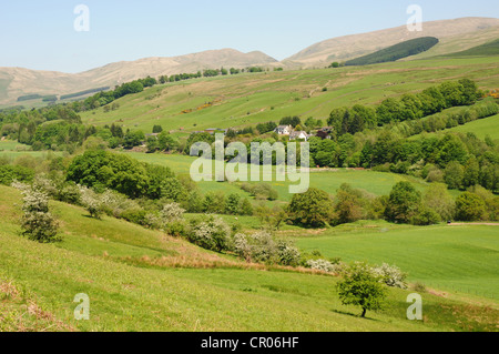 View looking north up the River Annan Valley, near Moffat, Dumfries & Galloway, Scotland - Stock Image