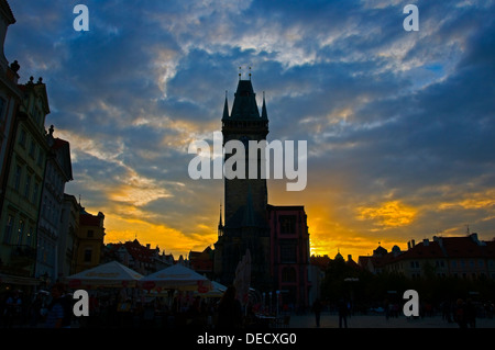 Late Evening in the Old TOwn Square, Prague - Stock Image