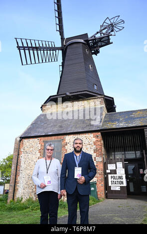Brighton UK 2nd May 2019 - Presiding officers for the Hove Constituency of Hangleton & Knoll Ward for the local elections outside the Polling Station at West Blatchington Windmill in Brighton and Hove early this morning. Credit: Simon Dack / Alamy Live News - Stock Image