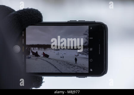 Roundhay Park during the Beast From The East - Stock Image