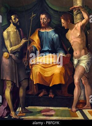 Santi Giovanni il Battista, Giacomo, Sebastiano, saints John the Baptist, James, Sebastian, by Painter Emiliano 16th Century  Italy, Italian. - Stock Image