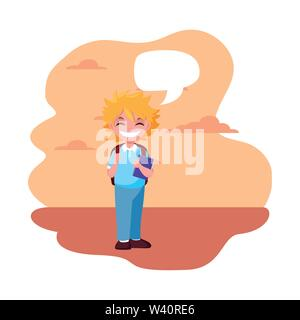school boy with bag talk bubble outdoors background vector illustration - Stock Image
