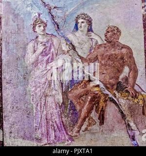Mural Depicting Hercules In Olympus Herculaneum Italy - Stock Image