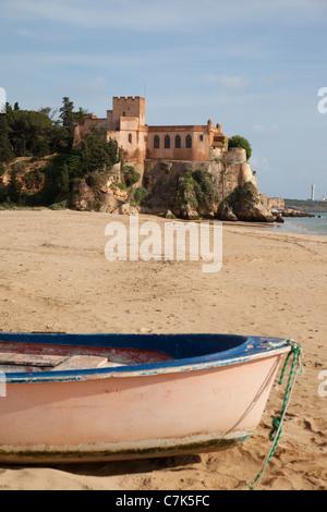 Portugal, Algarve, Ferragudo, Castle, Boat & Beach - Stock Image