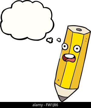 happy freehand drawn thought bubble cartoon pencil - Stock Image
