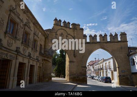 Jaén door and Villalar arch. 16th century. Baeza, Jaén province, Andalousia, Spain, - Stock Image