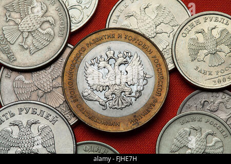Coins of Russia. Russian commemorative 10 ruble coin dedicated to the Ministry of Economic Development and Trade. - Stock Image