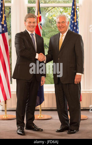 U.S. Secretary of State Rex Tillerson meets with New Zealander Prime Minister Bill English in Wellington, New Zealand, - Stock Image