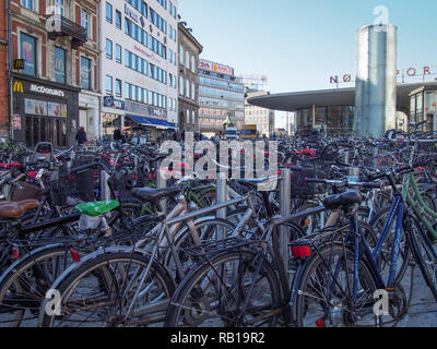 COPENHAGEN, DENMARK-APRIL 11, 2016: Lot of bicycles parked in the center of the City - Stock Image