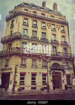 View of Hotel Normandy, located in the historic centre of Paris, France. Antique, retro look with vintage paper - Stock Image