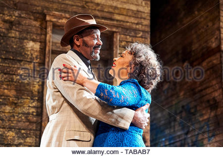 King Hedley II by August Wilson, directed by Nadia Fall.With Lenny Henry as Elmore, Martina Laird as Ruby. Opens at Stratford East Theatre on 23/5/19 pic Geraint Lewis EDITORIAL USE ONLY - Stock Image
