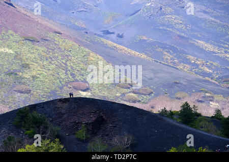 Slopes of Mount Etna, The highest and most active volcano in Europe, Nicolosi, Sicily, Italy - Stock Image
