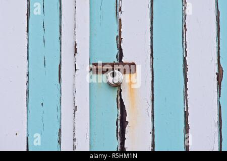 Close up of front doors of a beach hut at Abersoch, Gwynedd, Wales - Stock Image