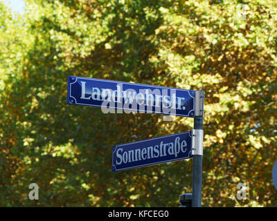 Landwehr street Sonnen Street signs in Munich Germany Europe - Stock Image