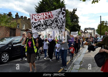 East London, UK. 12th Aug, 2017. Dozens of residents protest in London against demolition of council estates East London, UK Credit: Ajit Wick/Alamy Live News - Stock Image