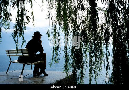 Woman wearing hat sitting under a weeping willow tree along side of lake, Chiemsee, Upper bavaria, Germany - Stock Image