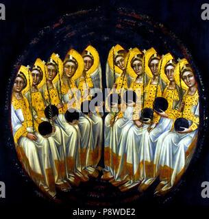 Gruppo di dieci angeli seduti con globo e flabello gigliato ( Serafini ? ) Group of ten angels sitting with globe and lily flabellus (seraphims ?) Guariento di Arpo (1310 – 1370), 14th-century painter in Padua.  Italy Italian - Stock Image