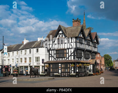 The Black and White House Museum, a preserved 17th Century timber framed landmark building in Hereford city centre, Herefordshire, England UK - Stock Image
