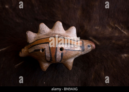 An ocarina, a Mesoamerican Pre-Hispanic musical instrument, made of clay, in Mineral de Pozos, Nuevo Leon State, - Stock Image