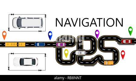 Road, cars, navigator mark. The highway is stylized under the inscription GPS-navigator. Isolated Illustration - Stock Image