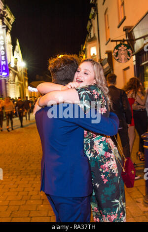 Aberystwyth, Wales, UK. 31st December 2018.  Groups of young people out and about on the streets in Aberystwyth Wales , having fun celebrating the start of the 2019 new year.  photo credit: Keith Morris/ Alamy Live News - Stock Image
