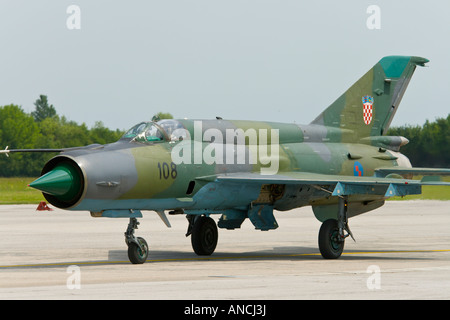 Croatian Air Force MiG-21 BISD '108' fighter - Stock Image