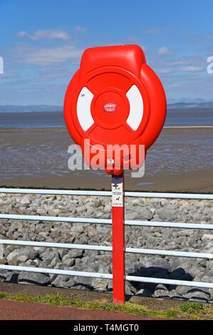 Coastguard lifebuoy. The Promenade, Morecambe Bay. Morecambe, Lancashire, England, U.K., Europe. - Stock Image