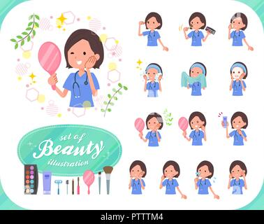 A set of Surgical Doctor women on beauty.There are various actions such as skin care and makeup.It's vector art so it's easy to edit. - Stock Image