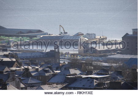 Elevated view of Hotel Indigo and Water's Edge Dundee Scotland  January 2019 - Stock Image