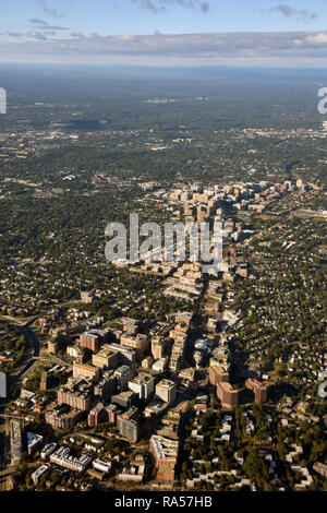 Washington DC surroundings seen in aerial view from high altitude - Stock Image