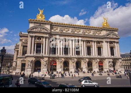 Opera Garnier in spring sunshine with gilt sculptures Neo-Baroque building Paris France Europe EU - Stock Image