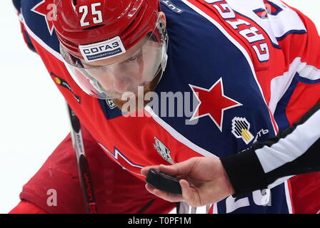 Moscow, Russia. 21st Mar, 2019. MOSCOW, RUSSIA - MARCH 21, 2019: HC CSKA Moscow's Mikhail Grigorenko in Leg 5 of their 2018/19 KHL Western Conference semi-final playoff tie against HC Dynamo Moscow, at CSKA Arena. Mikhail Tereshchenko/TASS Credit: ITAR-TASS News Agency/Alamy Live News - Stock Image