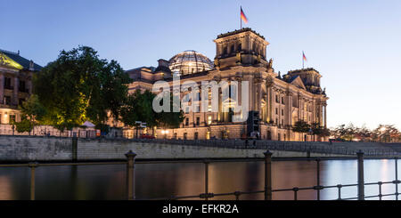 German Reichstag at river Spree, Berlin, Germany - Stock Image