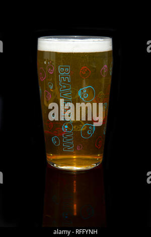 Beavertown IPA Beer in a Beavertown Pint Glass - Stock Image