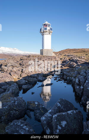 The Rhue lighthouse near Ullapool on the Scottish west coast of the Atlantic, Wester Ross, Scotland, United Kingdom - Stock Image